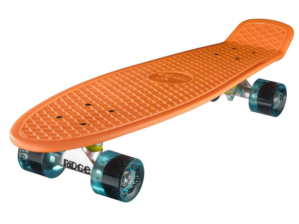"Ridge 27"" Big Brother Mini Cruiser complete board skateboard in orange- 12 wheel colours"