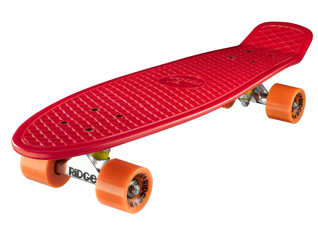 "Ridge 27"" Big Brother Mini Cruiser complete board skateboard in red with 12 wheel colours"