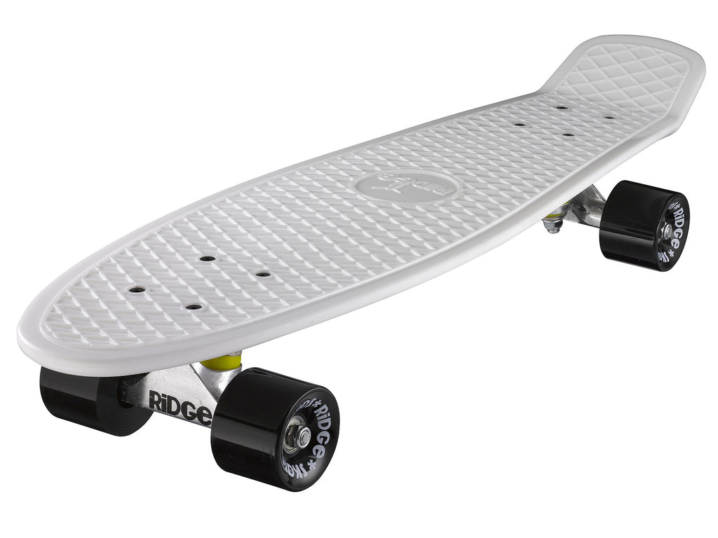 "Ridge 27"" Big Brother Mini Cruiser complete board skateboard in white with 12 wheel options"