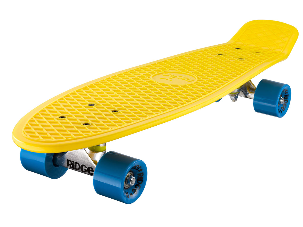 "Ridge 27"" Big Brother Mini Cruiser complete board skateboard in yellow with 12 wheel options"