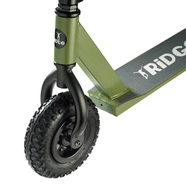 Neochrome / Khaki / Grey Dirt Scooter All Terrain trick scooter w 200mm pneumatic air tyres, BMX style forks