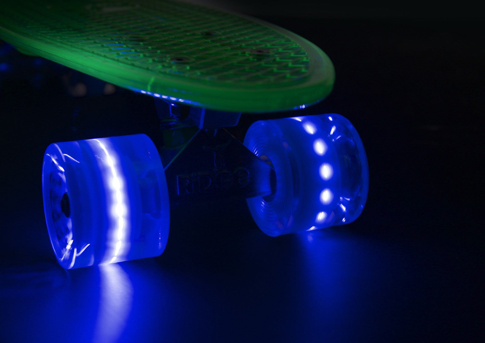 The Ridge Aurora LIGHT UP DECK AND WHEELS Mini Cruiser in blue w LED light up wheels in 5 colours