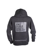 Ridge Eat, Sleep, Skate, Repeat Heavyweight Hoodie with thumb holes and phone pocket in Grey Melange