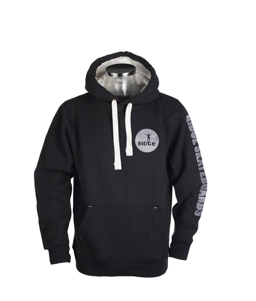 Ridge Eat, Sleep, Skate, Repeat Heavyweight Hoodie with thumb holes and phone pocket in Black