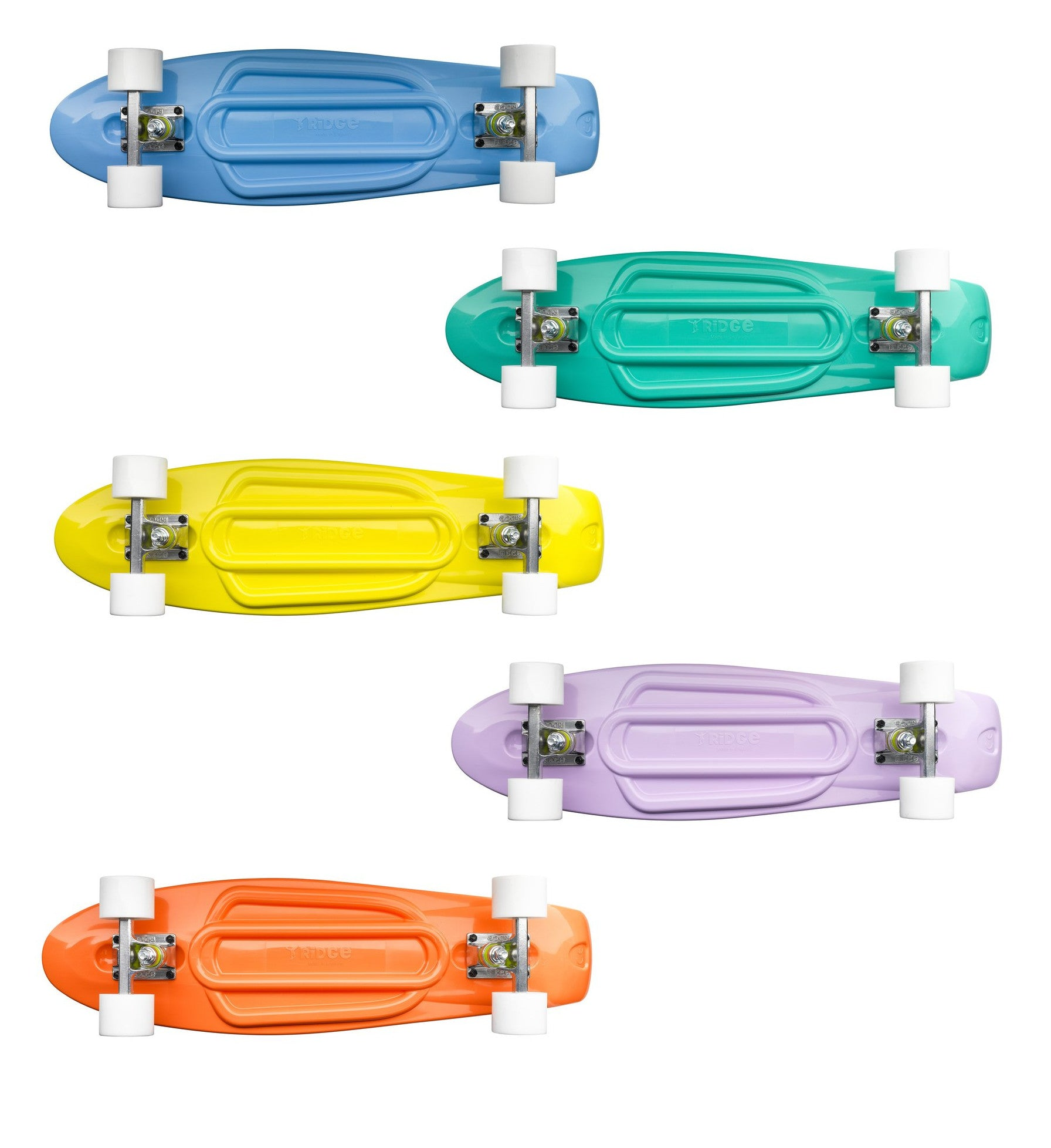"Ridge 27"" Pastels Mini Cruiser complete board in 5 light Pantone shades"