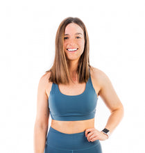 Load image into Gallery viewer, Got your back, mellow blue sport top, moderate support, comfortable straps, cutout on the back for ventilation, perfect for intensive training