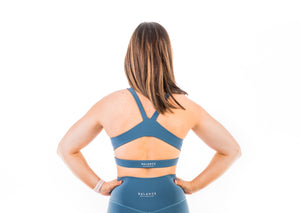 Got your back, mellow blue sport top, moderate support, comfortable straps, cutout at the back for ventilation, perfect for intensive training