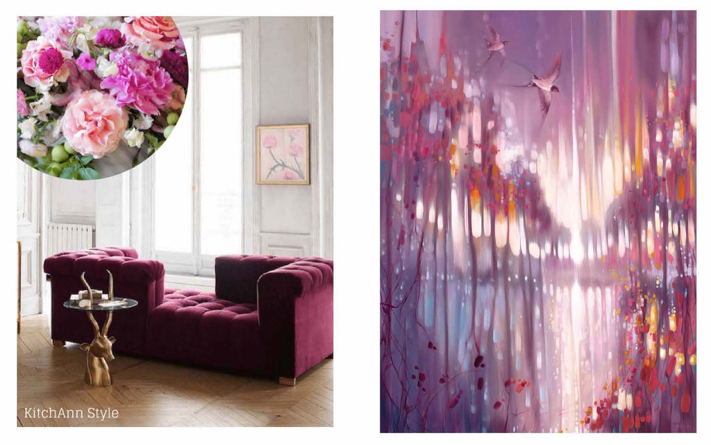 "Above left image: Pantone Cherish / Right image: Gill Bustamante ""A Beautiful Truth"""