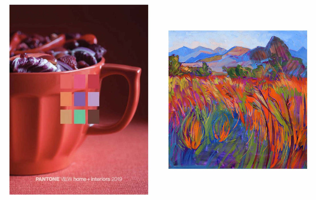 "Left image:  Pantone Cravings / Right image: Erin Hanson ""Scarlet Grass in Triptych (right)"""