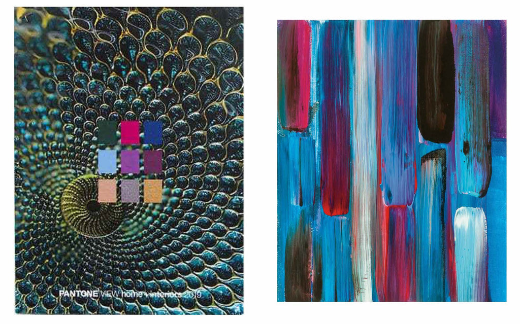 "Above left image: Pantone Paradoxical / Right image: Joan Davis ""Treasure's First Colors No. 9"""