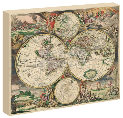 Vintage Reproduction - World Map 1689 (Framed)