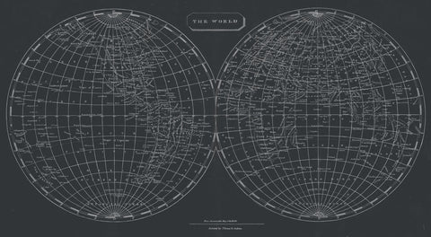 Map of the World, 1812 (chalkboard) -  Aaron Arrowsmith - McGaw Graphics