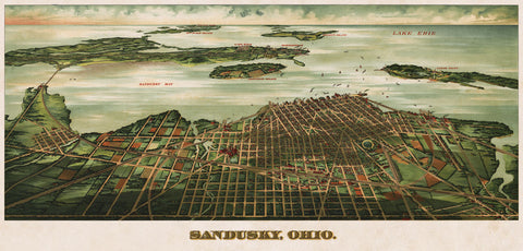 Bird's Eye View of Sandusky, Ohio, 1898 -  Alvord Peters Co. - McGaw Graphics