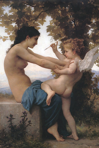 Girl Defending Herself Against Love -  William-Adolphe Bouguereau - McGaw Graphics