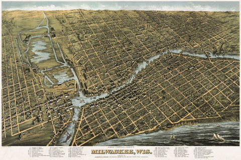 Bird's Eye Map of Milwaukee, Wisconsin, 1872 -  Bailey - McGaw Graphics