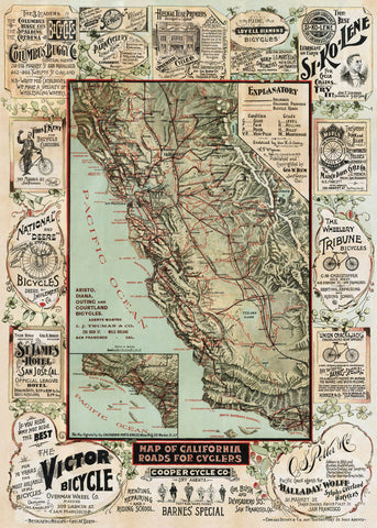 Map of California Roads for Cyclers, 1896 -  George W. Blum - McGaw Graphics
