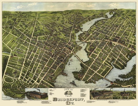 O.H. Bailey - View of Bridgeport, Connecticut, 1875