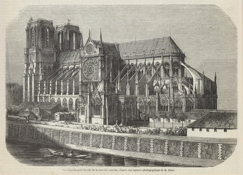 Notre Dame Cathedral Engraving, 1852 -  M. Blanc - McGaw Graphics