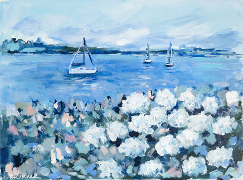 Sailboats and White Hydrangeas 1 - McGaw Graphics