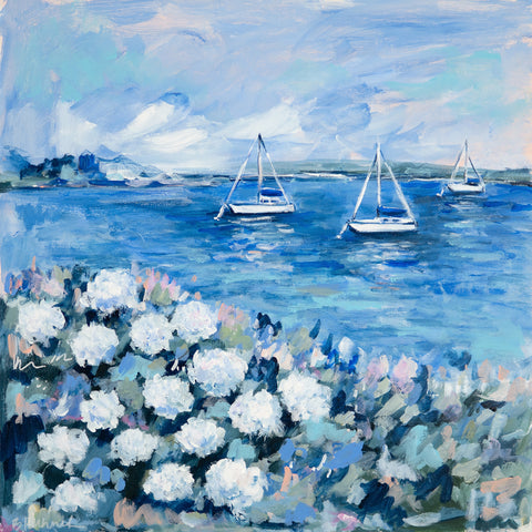 Sailboats and White Hydrangeas 2 - McGaw Graphics