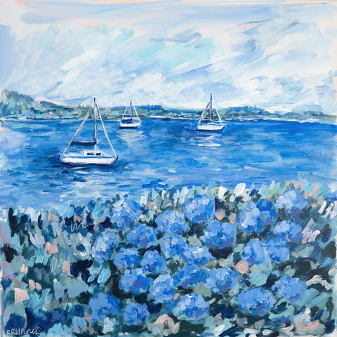 Sailboats and Blue Hydrangeas - McGaw Graphics