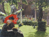 Afternoon in the Cluny Garden, Paris, 1889 -  Charles Curran - McGaw Graphics