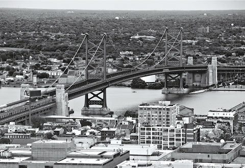 The Benjamin Franklin Bridge (aerial) (b/w) -  Erin Clark - McGaw Graphics