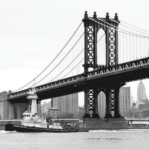 Erin Clark - Manhattan Bridge with Tug Boat (b/w)
