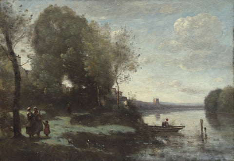 River with a Distant Tower, 1865 -  Jean-Baptiste Camille Corot - McGaw Graphics