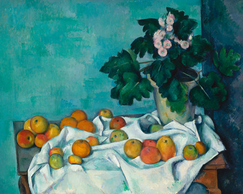 Still Life with Apples and a Pot of Primroses, ca. 1890 -  Paul Cezanne - McGaw Graphics