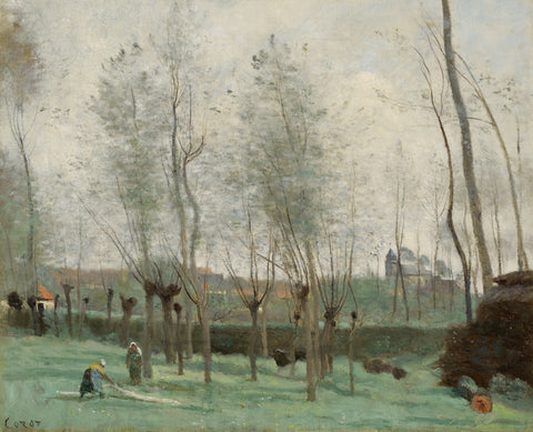 Washerwomen in a Willow Grove, 1871 -  Jean-Baptiste Camille Corot - McGaw Graphics