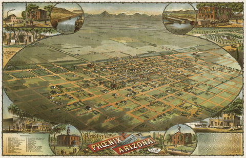 Bird's Eye View of Phoenix, Arizona, 1885 -  C.J. Dyer - McGaw Graphics
