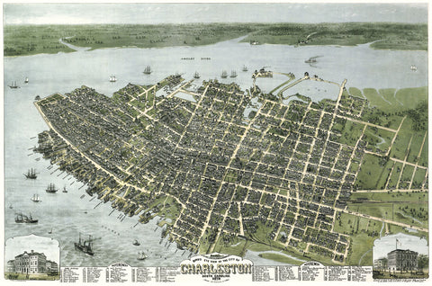 C.N. Drie - Bird's Eye View of the City of Charleston, South Carolina, 1872