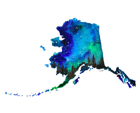 Alaska State Watercolor