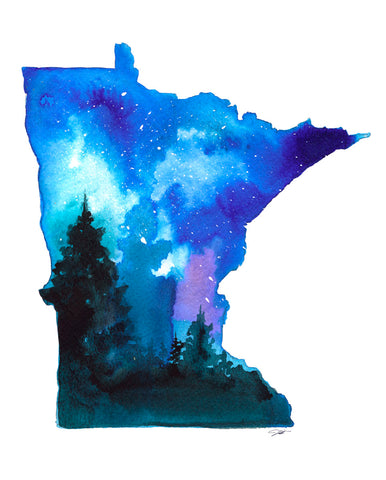 Minnesota State Watercolor -  Jessica Durrant - McGaw Graphics