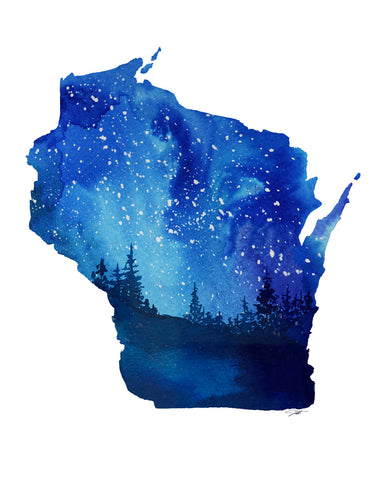 Wisconsin State Watercolor -  Jessica Durrant - McGaw Graphics