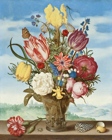 Dutch Florals - Ambrosius Bosschaert, Bouquet of Flowers on a Ledge