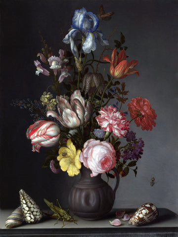 Dutch Florals - Balthasar van der Ast, Flowers in a Vase with Shells and Insects