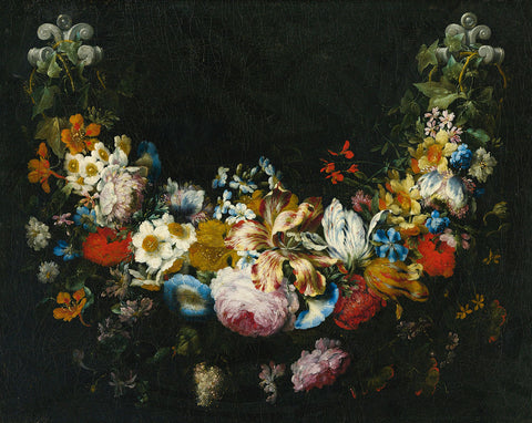 Dutch Florals - Gaspar Peeter Verbruggen, A swag of flowers