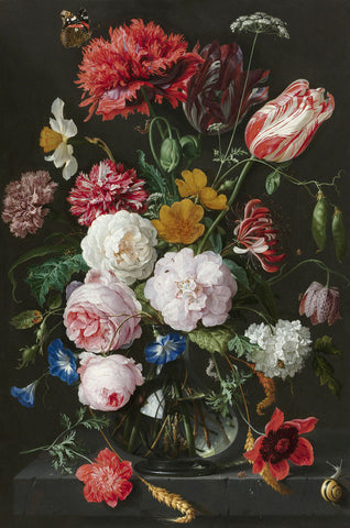 Dutch Florals - Abraham Mignon, Still Life with Flowers in a Glass Vase