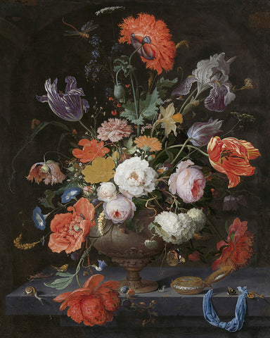 Dutch Florals - Abraham Mignon, Still Life with Flowers and a Watch