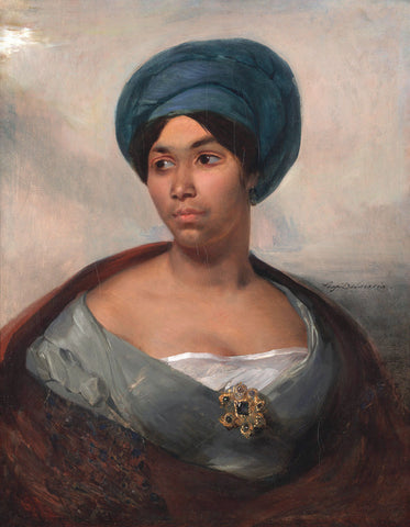 Portrait of a Woman in a Blue Turban, ca. 1827 -  Eugene Delacroix - McGaw Graphics