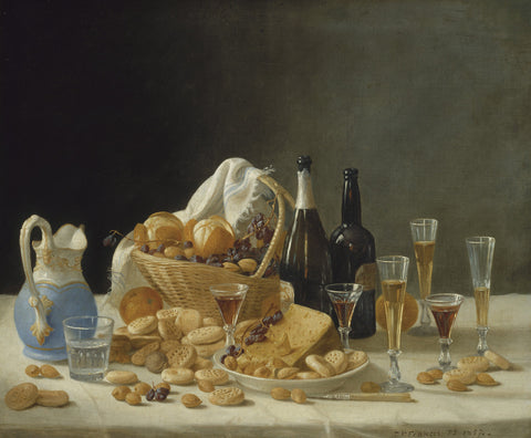 John F. Francis - Still Life with Wine Bottles and Basket of Fruit, 1857