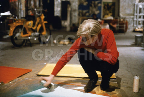 Andy with Spray Paint and Moped, The Factory, NYC, circa 1965 -  Andy Warhol/ Nat Finkelstein - McGaw Graphics