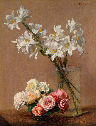 Roses and Lilies,1888 -  Henri Fantin-Latour - McGaw Graphics
