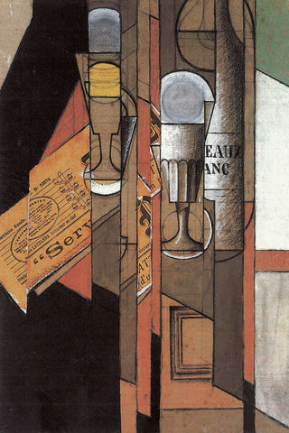Glasses, Newspaper, and Bottle of Wine -  Juan Gris - McGaw Graphics