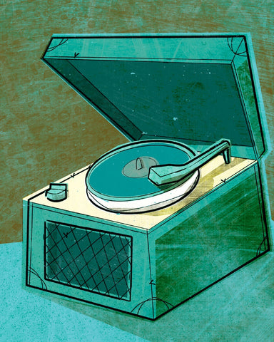Old School Record Player in Aqua -  John W. Golden - McGaw Graphics