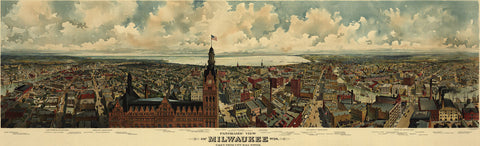 Gugler Litho. - Panoramic View of Milwaukee, Wisconsin, 1898