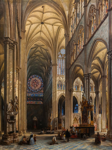 Interior of the Cathedral of Amiens, 1842 -  Jules Victor Genisson - McGaw Graphics