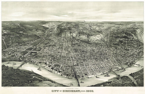 Henderson Litho Co. - Panoramic View of the City of Cincinnati, Ohio, 1900